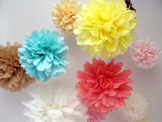 Paper pom poms ... 10 Poms ... Pick Your Colors