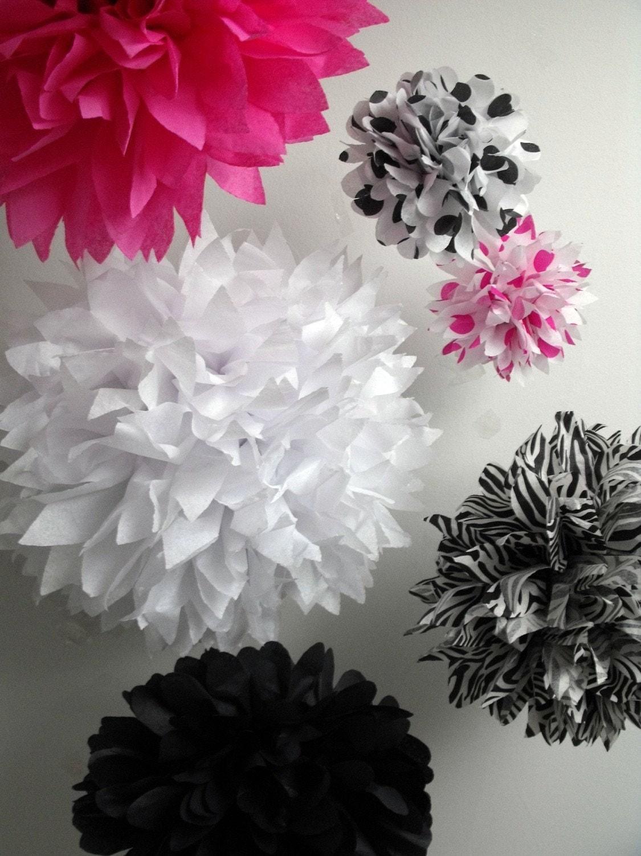 Zebra party decorations pompoms hot pink by pomtree