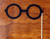 Mustache on a stick - Potter Eye Glasses Mask Prop for Wedding Photo booth Parties or Just for Fun - Black Felt