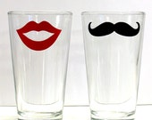 Mustache and Lips His and Hers Pint Glass Fun Drinking Glassware Bar Ware- 2 Piece Set - MustacheGlass