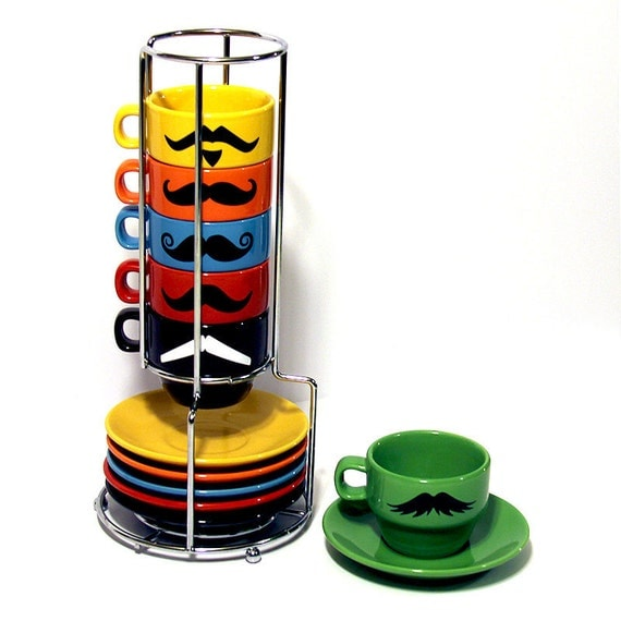 Multi Color Mustache Espresso Coffee Mugs and Saucers - Set of 6 Cups and 6 Plates Plus a Chrome Rack Holder