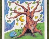 """Night Oak : Mini Print 4x4"""""""