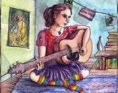 Songstress Illustration: 8x8 Art Print