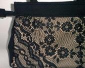 Black Purse 40's style with lace Vintage Retro Handbag