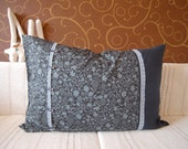 SALE -50% Dark blue Pillow Case Cover of Linen and Cotton with Lace and Crystal Buttons
