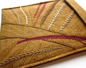 iPad sleeve - hand embroidered iPad 2 cover - tablet case - woodland leaves in burgundy and brown - quilt lined slim design - iPad 2