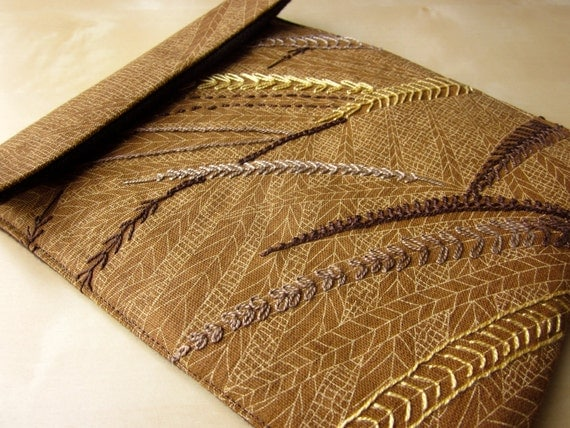 iPad sleeve - hand embroidered cover case - autumn leaves brown and yellow gold - felt lined slim design - one of a kind ready to ship