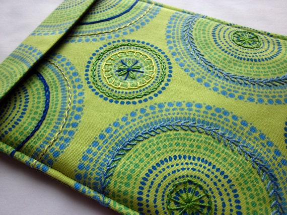 iPad 2 sleeve - hand embroidered iPad 2 cover - tablet case - lime green, blue and yellow kaleidoscope - quilt lined slim design