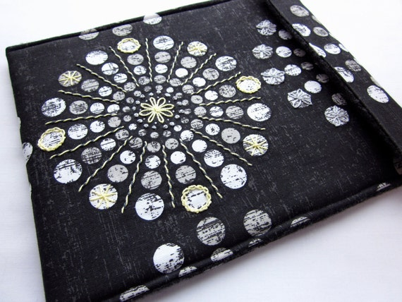 iPad 2 sleeve - hand embroidered iPad  cover - tablet case - black, grey and yellow geometric burst - felt lined slim design
