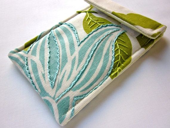 iPhone case - hand embroidered smart phone cozy - iPod sleeve - mod floral in turquoise and green - gadget sleeve