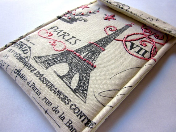 kindle fire sleeve, kindle keyboard case - hand embroidered gadget cover - Paris Postcards in Pink and Grey - Eiffel Tower - quilt lined