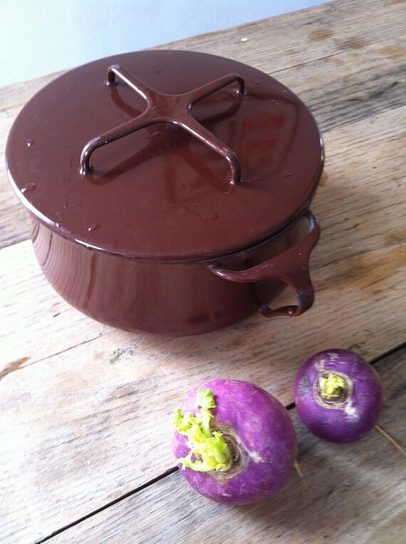 Dansk kobenstyle Chocolate Enamel pot