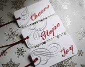 Hope, Joy and Cheers Letterpressed Gift Tags