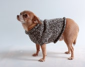 Preppy Black n White Tweed Roll Neck Dog Sweater, size X Small