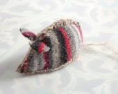 Charcoal n Red Catnip Mouse from recycled thrift store sweaters