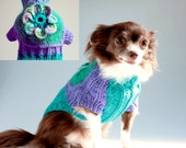 8 Petaled Flower Power Dog Sweater, Jade Green n Periwinkle Wool, with  Mohair, sz Small, Holiday Gift Box Included