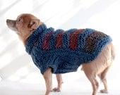 Navy and Wine Chevron Stripe Dog Sweater, Small