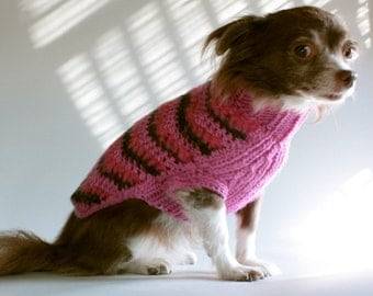 Hot Pink - Chevron Striped Dog Sweater, Knit and Crocheted, size Small