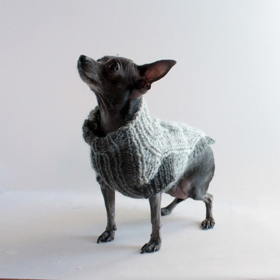 Two Chic Shades of Steel Gray, Handknit chunky donut cables,  Dog Sweater,  sz XXS
