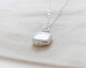 Square pearl (necklace) - Natural square shape pearl on sterling silver
