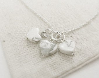 How light (necklace) - Small triple howlite hearts on and sterling silver