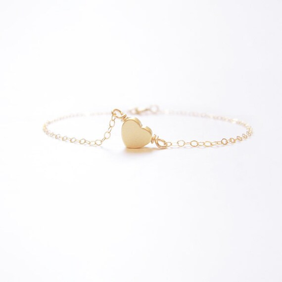 Je T ' aime Sole heart (bracelet) - Tiny 14k gold plated puffed heart & Gold-Filled ,,