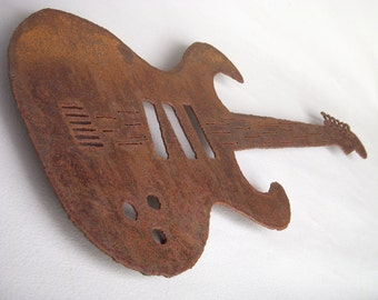"Steel Guitar wall art - 36"" long - musical art rust patina earth tone metal wall art - choose your color - guitar art wall art"