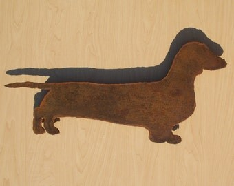 "Dachshund wall art - 22"" wide - silhouette metal dog art - rust patina - metal steel"