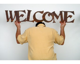 "Welcome metal wall art - 45"" long - indoor outdoor custom sign - choose your color with rust patina - welcome art metal - painted metal sign"