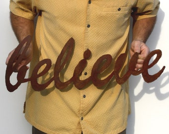 "believe metal wall art - 25"" wide - metal sign wall hanging - brown with rust accents patina - choose your color"