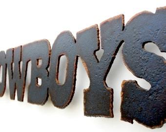 "Dallas Cowboys Emblem wall art football - 23.5"" wide - metal steel blue rust patina"