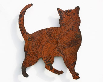 "Cat wall art - Cat home decoration - silhouette 14.5"" tall - rusty metal patina - indoor outdoor steel art"