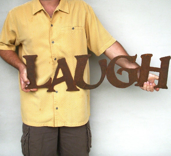 "Laugh sign wall art - indoor outdoor 33"" wide - choose your color with rust patina - live laugh love wall art - metal wall art - home decor"