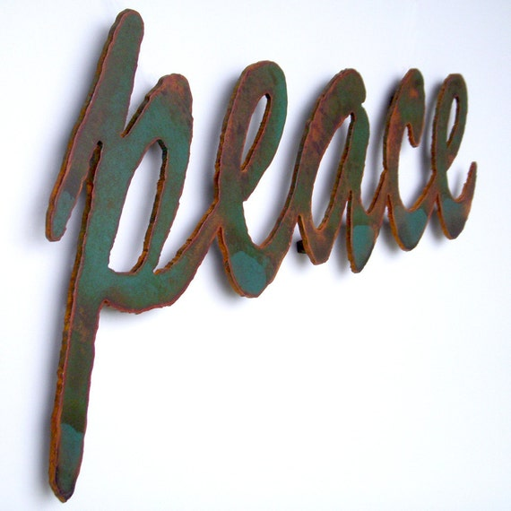 Peace Sign Wall Decor Metal : Peace sign wall art metal wide green rust