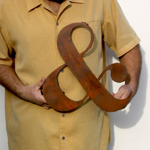 """AMPERSAND wall art custom sign 15"""" tall metal symbol steel - choose your color with rust accents patina"""