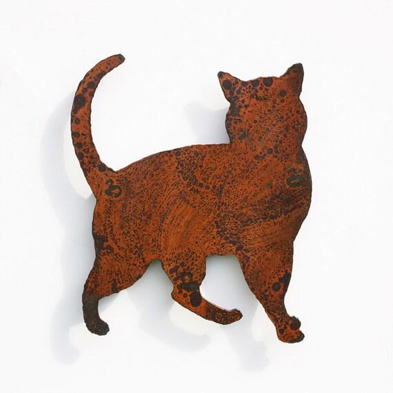 "Cat wall art - Cat home decoration - silhouette 14.5"" tall - rusty metal patina - indoor outdoor steel art"