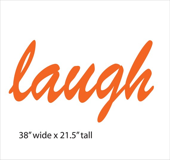 "Items similar to laugh wall art - 38"" wide - steel word ..."
