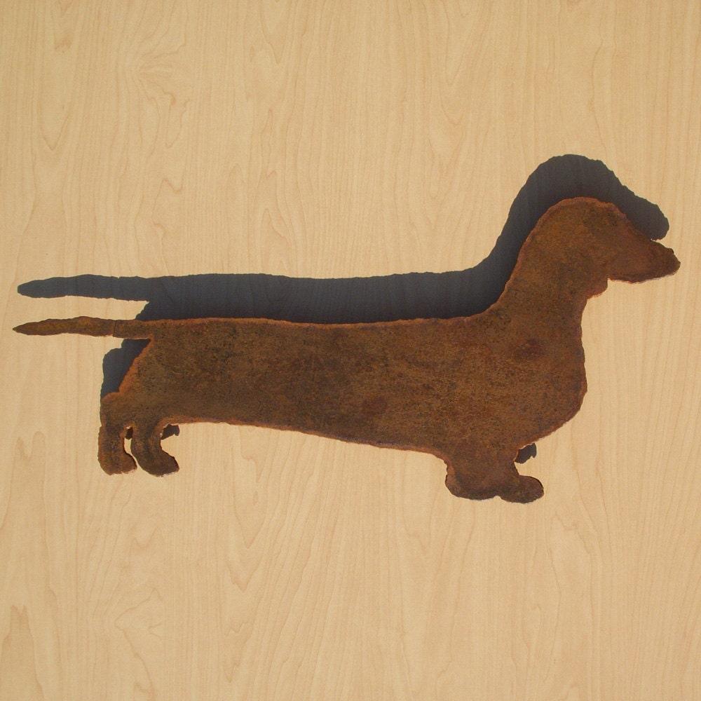 Dachshund wall art 22 wide silhouette metal dog art for Silhouette wall art