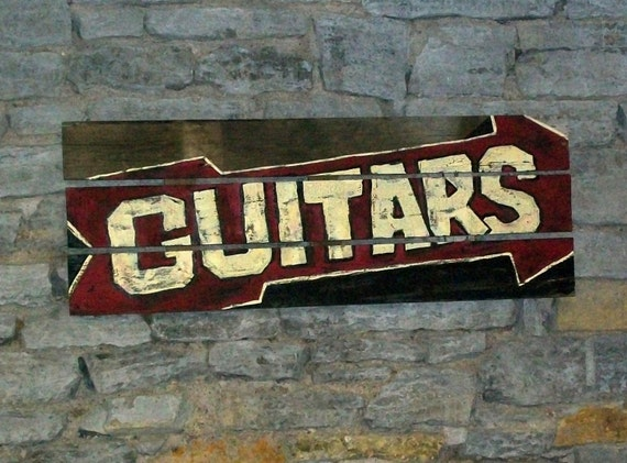 Guitars - wood, upcycled, original, hand painted sign