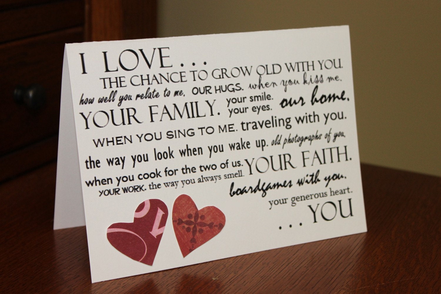 Things I Love About You I Love You 5x7 Card