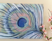 Original 16x20 Peacock Feather Painting