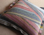 Wool Knitted Felted Pillow Cover - Pink Green Yellow Grey - Soft Color Palette - 18x18