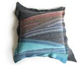 Wool Felted Cushion Cover 18x18 - Diagonal Striped Throw Pillow Case - Home Decor
