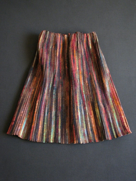 RESERVED - Early Spring Colorful Skirt - Size M - Natural Wool, Silk