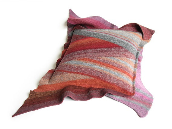 Wool Felted Throw Pillow Case 18x18 - Diagonal Striped Cushion Cover - Home Decor