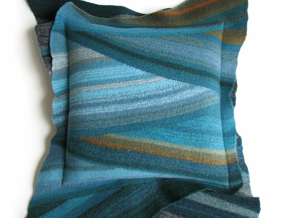 Decorative Felted Cushion Cover - Teal Shades - Diagonal Stripes
