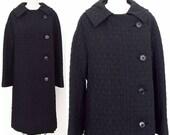 Vintage 60s coat mod Forstmann textured black womens medium