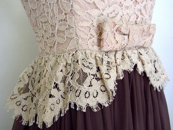 Vintage 50s Dress Lace Ballerina Bodice Peplum Romantic Sheer Skirt Petite XS