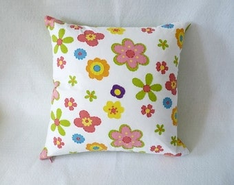 16 x 16 inch hand-embroidered pillow cover with zipper closure