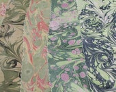 Hand Marbled Silk - Greens